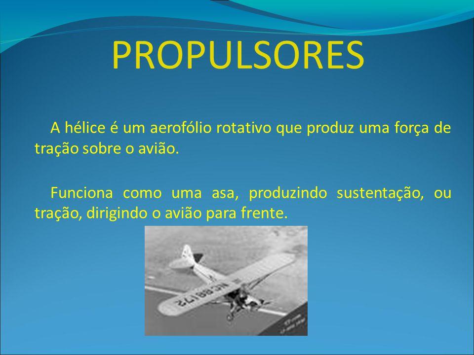 A hélice é um aerofólio rotativo que produz uma força de tração sobre o avião. Funciona como uma asa, produzindo sustentação, ou tração, dirigindo o a