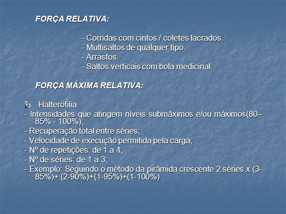FORÇA RESISTÊNCIA:  Halterofilia - Intensidades da carga situa-se entre 30 – 60%; - Recuperação de 2-3 seg.