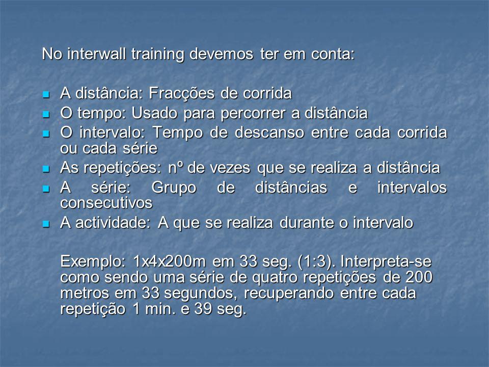 C) Treino Fraccionado – Interwall Training O treino fraccionado é uma forma de trabalho que se caracteriza por dividir uma distância em partes mais pequenas e percorrê-la com um tempo de descanso entre cada uma delas.
