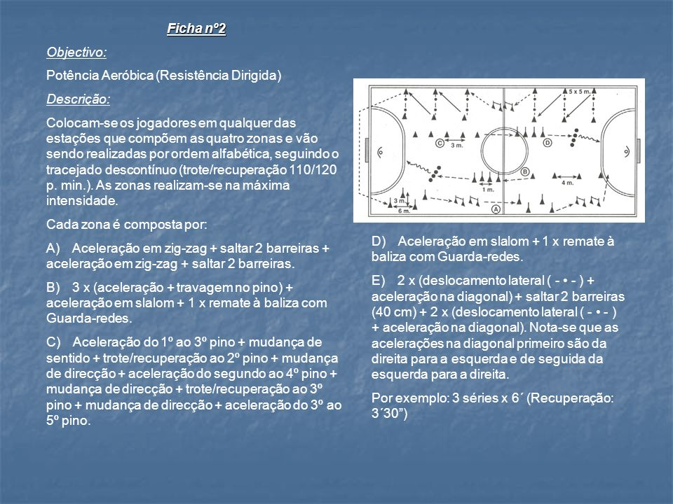 Ficha nº1 Objectivo: Capacidade Aeróbica (Resistência Geral) Descrição: Divide-se os jogadores em grupos e distribuem- se por cada estação, realizando o percurso por ordem alfabética.