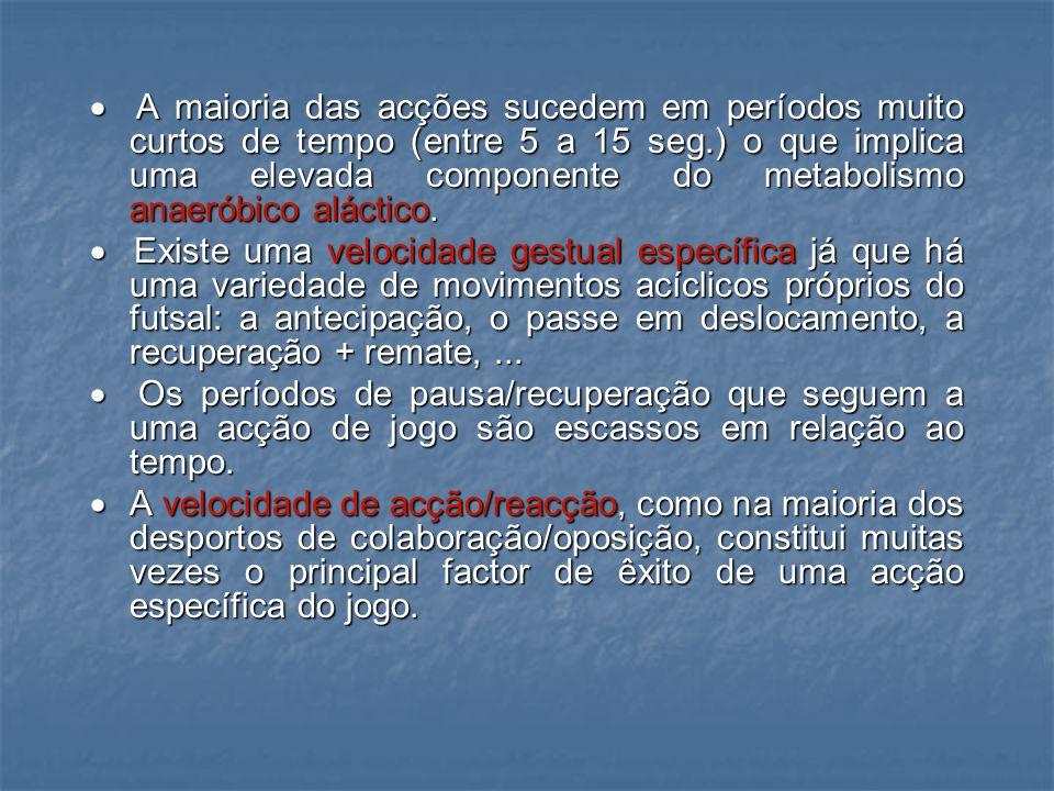D) Velocidade Específica: Como os restantes desportos colectivos existem uma série de condicionantes que definem a velocidade específica no futsal:  A média dos deslocamentos centram-se à volta dos 7 metros.
