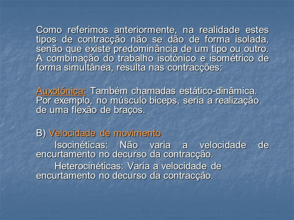 -Excêntricas: O músculo contrai-se (produz- se um alongamento muscular à medida que as inserções musculares se separem).