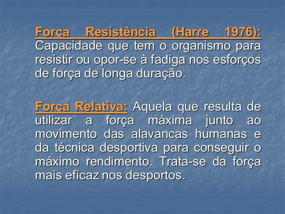 Força de Velocidade (Harre, 1976): É a capacidade que o sistema neuromuscular possui para superar resistências com maior velocidade de contracção possível.