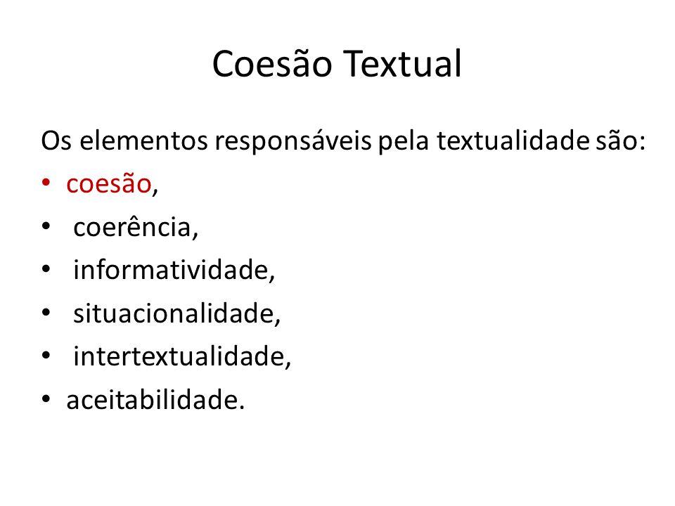 Coesão Textual Os elementos responsáveis pela textualidade são: coesão, coerência, informatividade, situacionalidade, intertextualidade, aceitabilidad