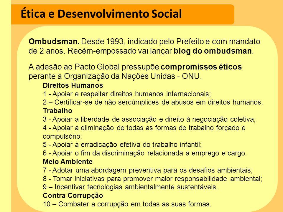 Ética e Desenvolvimento Social Ombudsman. Desde 1993, indicado pelo Prefeito e com mandato de 2 anos. Recém-empossado vai lançar blog do ombudsman. A