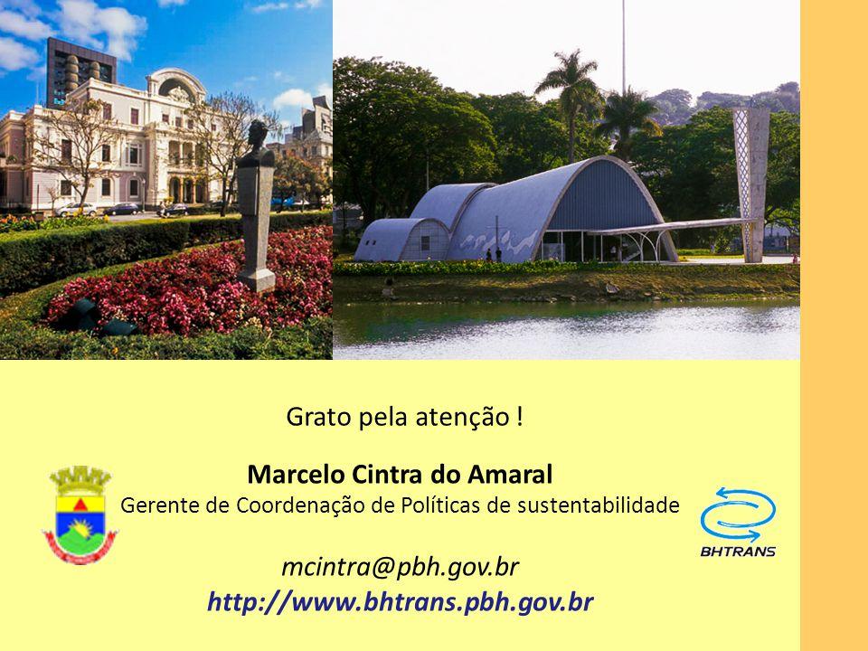 Grato pela atenção ! Marcelo Cintra do Amaral Gerente de Coordenação de Políticas de sustentabilidade mcintra@pbh.gov.br http://www.bhtrans.pbh.gov.br