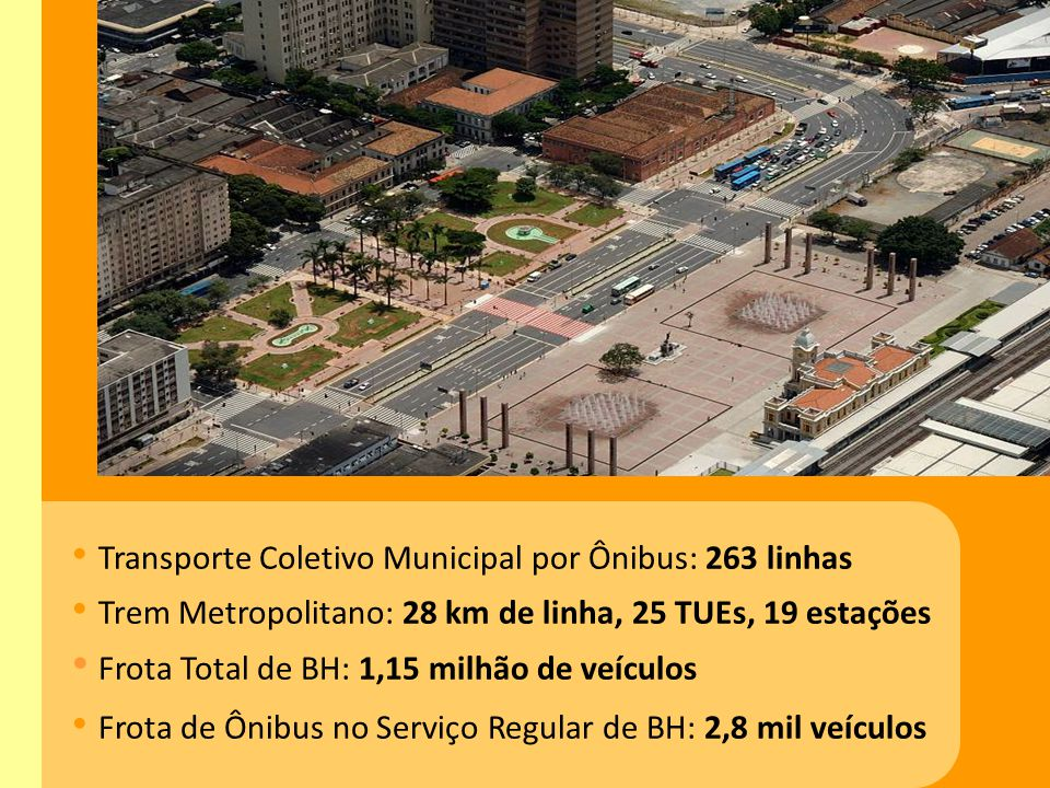 Transporte Coletivo Municipal por Ônibus: 263 linhas Trem Metropolitano: 28 km de linha, 25 TUEs, 19 estações Frota Total de BH: 1,15 milhão de veícul