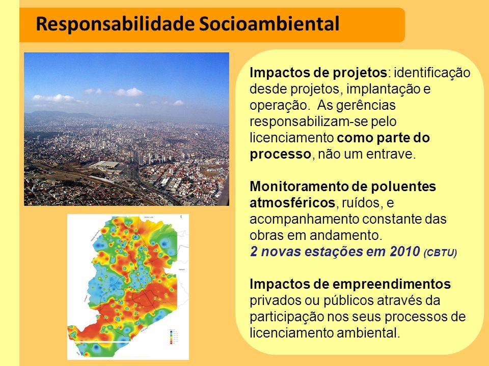 Responsabilidade Socioambiental Impactos de projetos: identificação desde projetos, implantação e operação. As gerências responsabilizam-se pelo licen