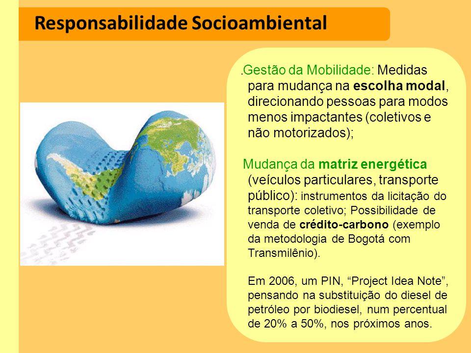 Responsabilidade Socioambiental Gestão da Mobilidade: Medidas para mudança na escolha modal, direcionando pessoas para modos menos impactantes (coleti