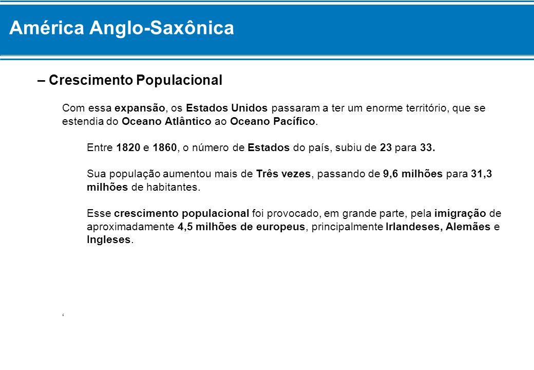 América Anglo-Saxônica – Crescimento Populacional Com essa expansão, os Estados Unidos passaram a ter um enorme território, que se estendia do Oceano
