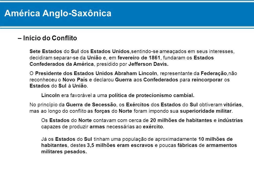 América Anglo-Saxônica – Início do Conflito Sete Estados do Sul dos Estados Unidos,sentindo-se ameaçados em seus interesses, decidiram separar-se da U