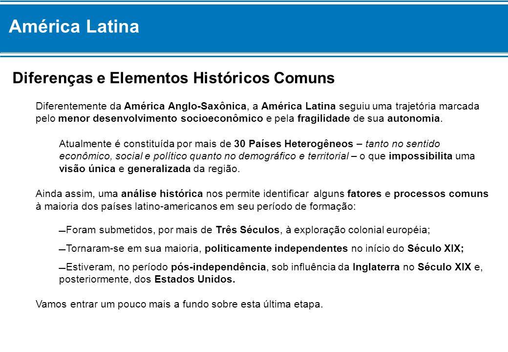 Diferenças e Elementos Históricos Comuns Diferentemente da América Anglo-Saxônica, a América Latina seguiu uma trajetória marcada pelo menor desenvolv