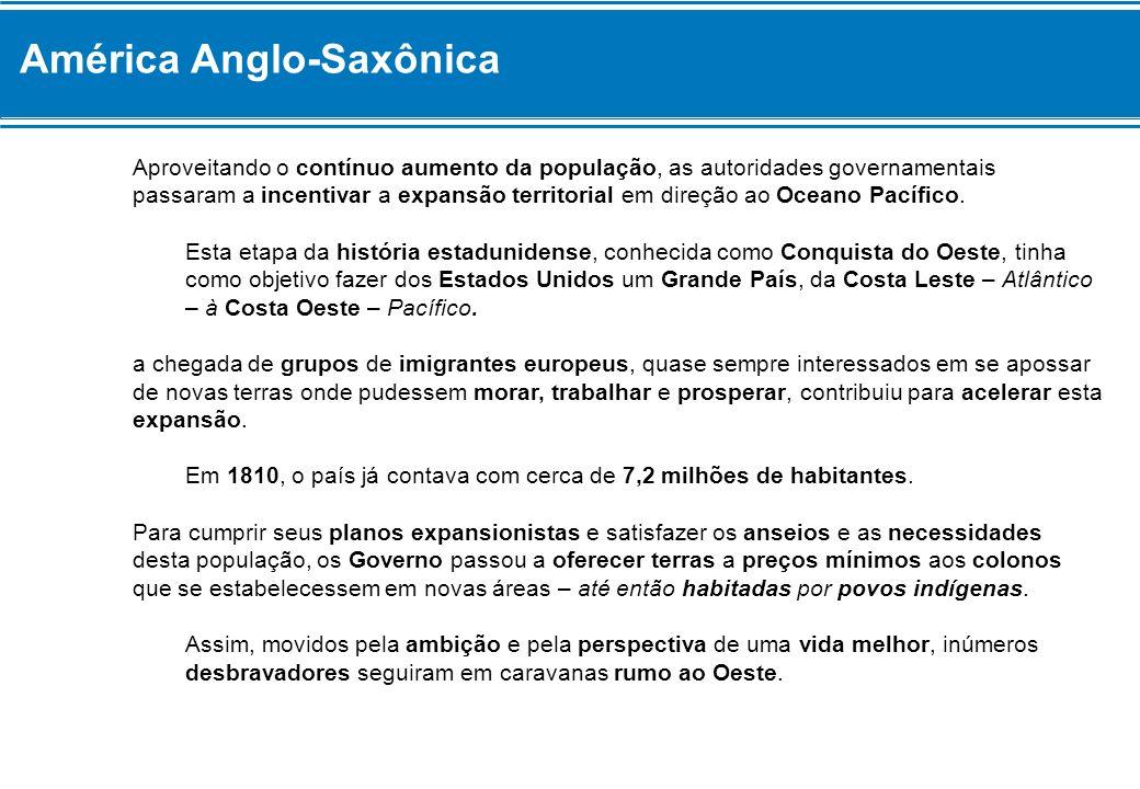 América Anglo-Saxônica Aproveitando o contínuo aumento da população, as autoridades governamentais passaram a incentivar a expansão territorial em dir