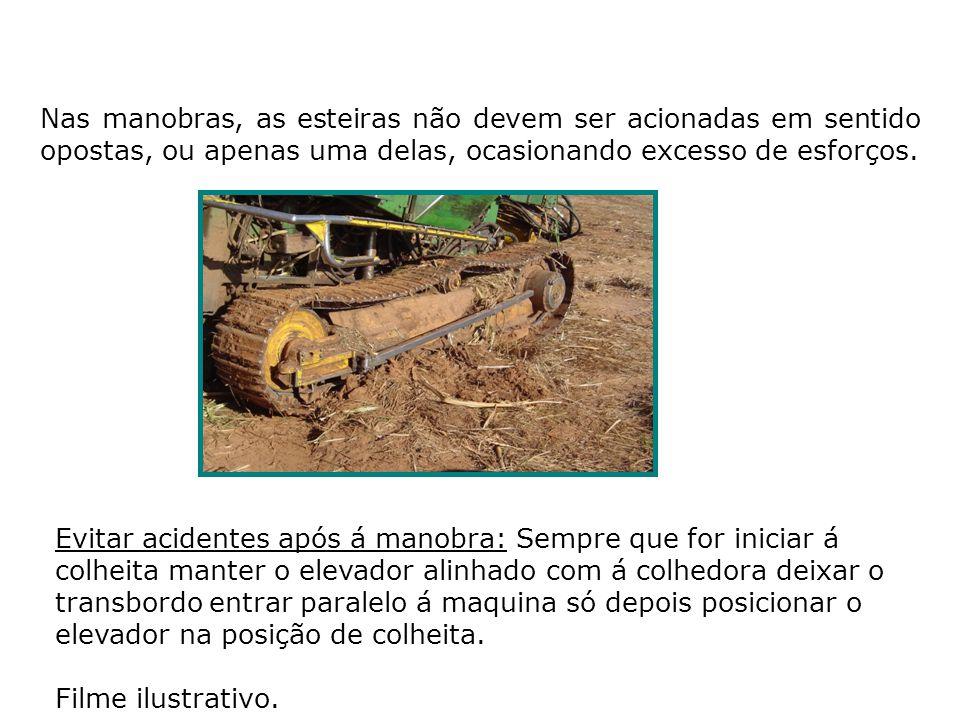 Utilização do Divisor de linha: Quando á cana estiver em pé não á necessidade de copiar o solo, mesmo em cana tombada não forçar o divisor no solo, lembre-se o divisor de serve para direcionar a cana para o centro da maquina.
