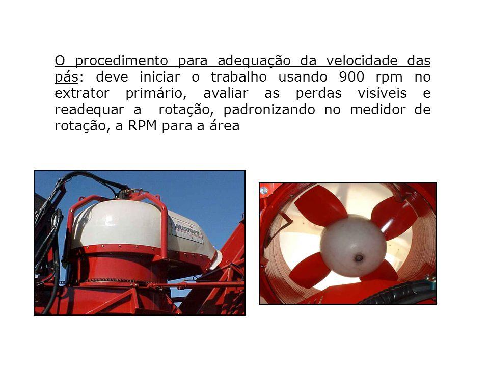 O procedimento para adequação da velocidade das pás: deve iniciar o trabalho usando 900 rpm no extrator primário, avaliar as perdas visíveis e readequ