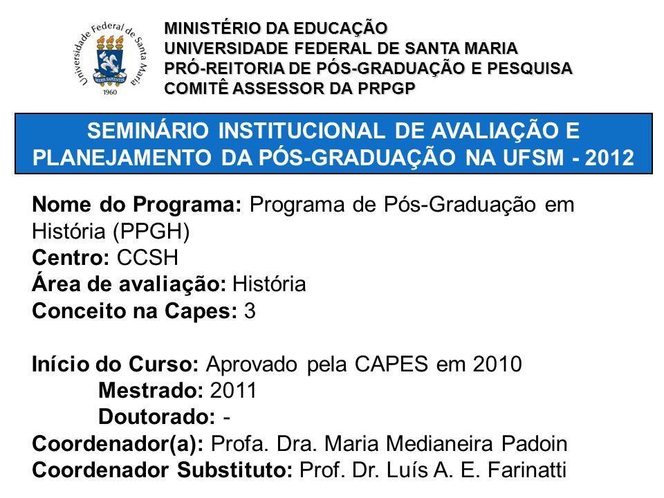 SEMINÁRIO INSTITUCIONAL DE AVALIAÇÃO E PLANEJAMENTO DA PÓS-GRADUAÇÃO NA UFSM - 2012 Nome do Programa: Programa de Pós-Graduação em História (PPGH) Cen