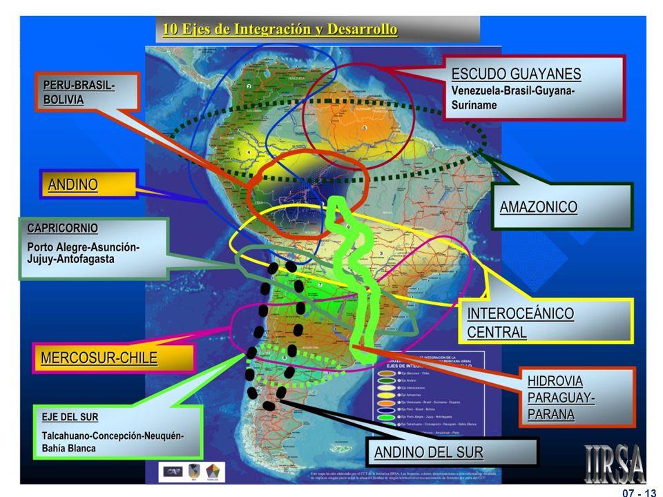 A COMPONENTE TÉCNICA: MODAIS A IIRSA instituída no ano 2000 pelos 12 países da América do Sul e se constituí no braço técnico do processo de integração física convergiu hoje para o mapa da figura 10, onde estão representados os 10 eixos de desenvolvimento.