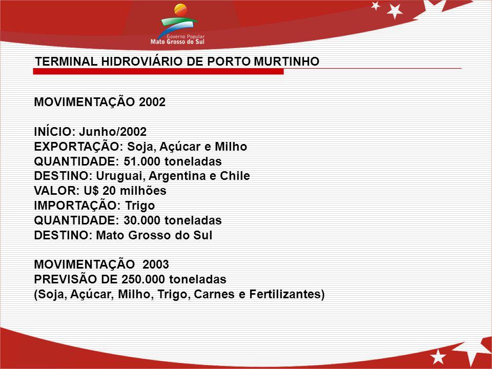MOVIMENTAÇÃO 2002 INÍCIO: Junho/2002 EXPORTAÇÃO: Soja, Açúcar e Milho QUANTIDADE: 51.000 toneladas DESTINO: Uruguai, Argentina e Chile VALOR: U$ 20 mi