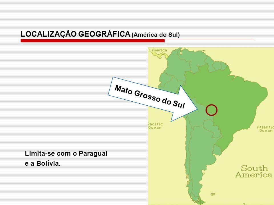 Mato Grosso do Sul LOCALIZAÇÃO GEOGRÁFICA (América do Sul) Limita-se com o Paraguai e a Bolívia.