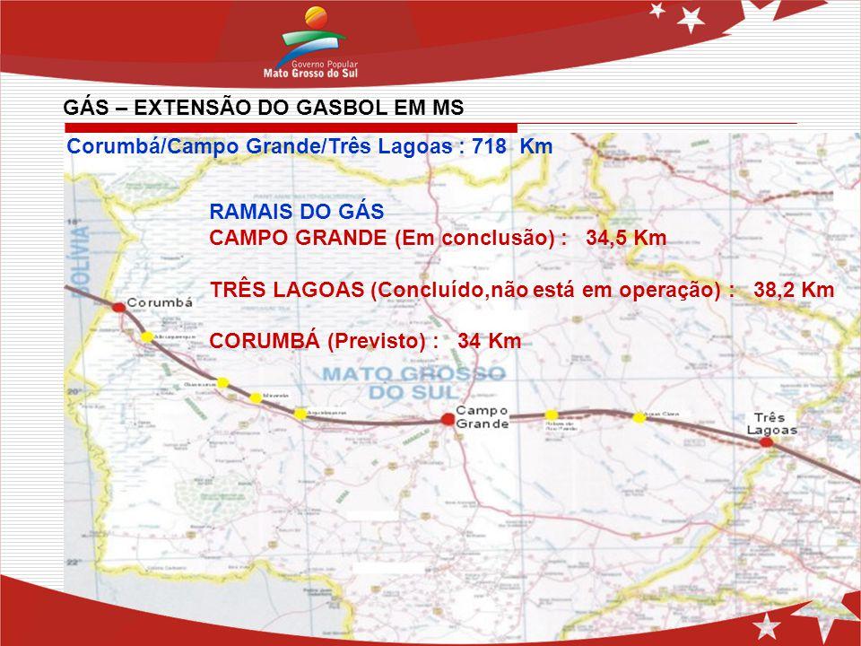 Corumbá/Campo Grande/Três Lagoas : 718 Km RAMAIS DO GÁS CAMPO GRANDE (Em conclusão) : 34,5 Km TRÊS LAGOAS (Concluído,não está em operação) : 38,2 Km C