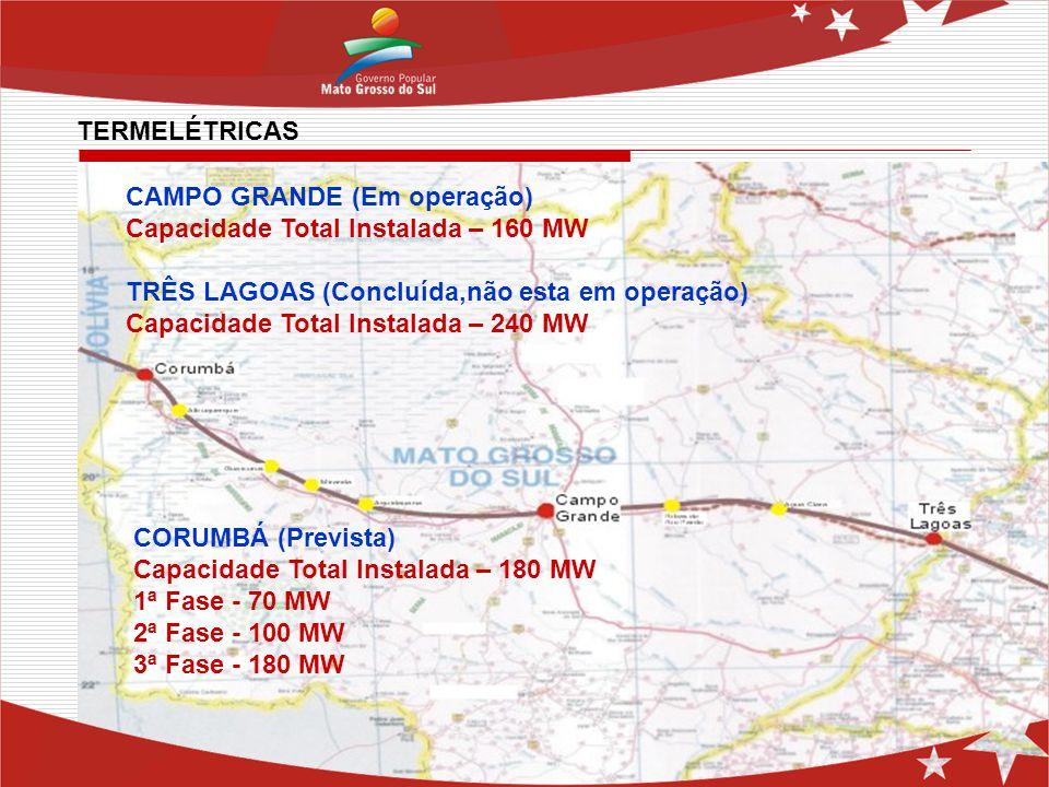 CAMPO GRANDE (Em operação) Capacidade Total Instalada – 160 MW TRÊS LAGOAS (Concluída,não esta em operação) Capacidade Total Instalada – 240 MW CORUMB