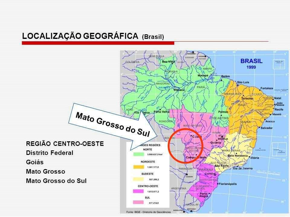 Mato Grosso do Sul REGIÃO CENTRO-OESTE Distrito Federal Goiás Mato Grosso Mato Grosso do Sul LOCALIZAÇÃO GEOGRÁFICA (Brasil)
