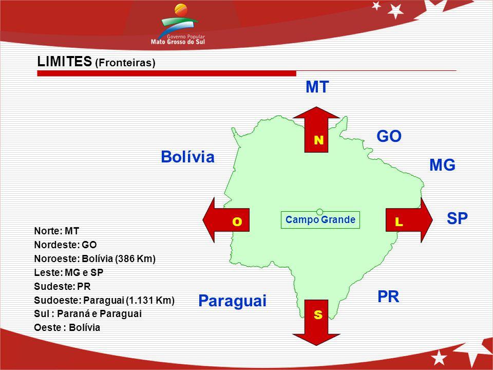 Norte: MT Nordeste: GO Noroeste: Bolívia (386 Km) Leste: MG e SP Sudeste: PR Sudoeste: Paraguai (1.131 Km) Sul : Paraná e Paraguai Oeste : Bolívia MT