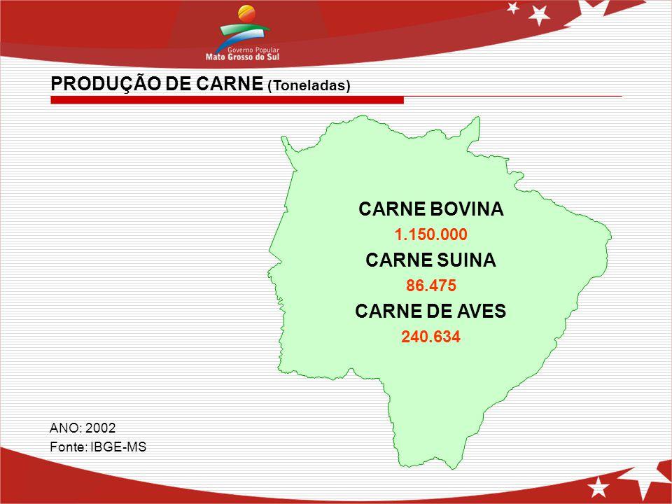 CARNE BOVINA 1.150.000 CARNE SUINA 86.475 CARNE DE AVES 240.634 PRODUÇÃO DE CARNE (Toneladas) ANO: 2002 Fonte: IBGE-MS