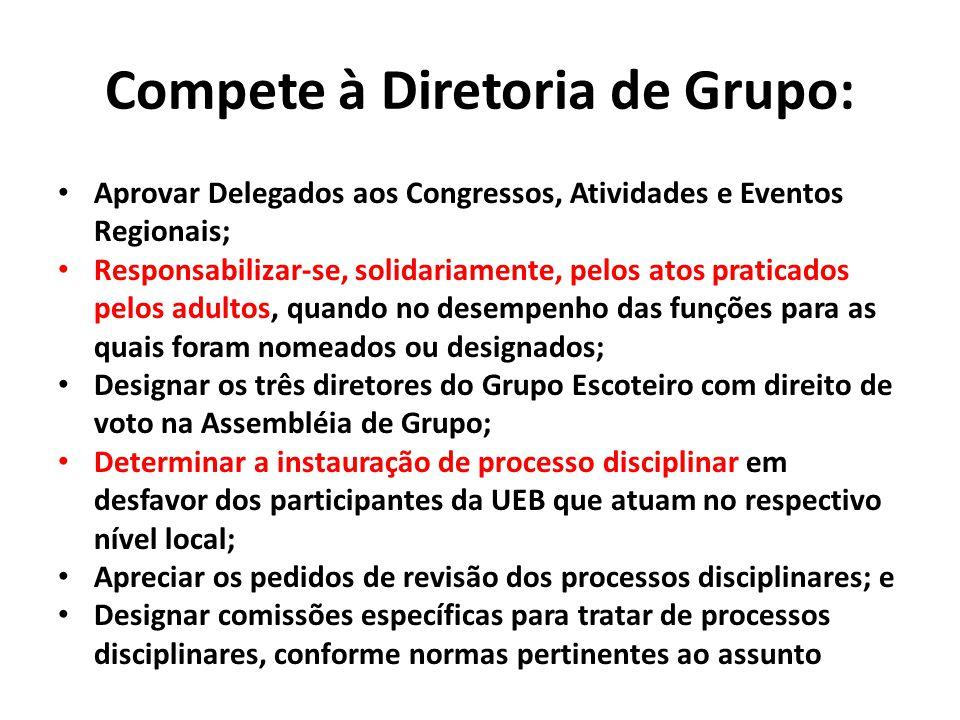 Compete à Diretoria de Grupo: Aprovar Delegados aos Congressos, Atividades e Eventos Regionais; Responsabilizar-se, solidariamente, pelos atos pratica