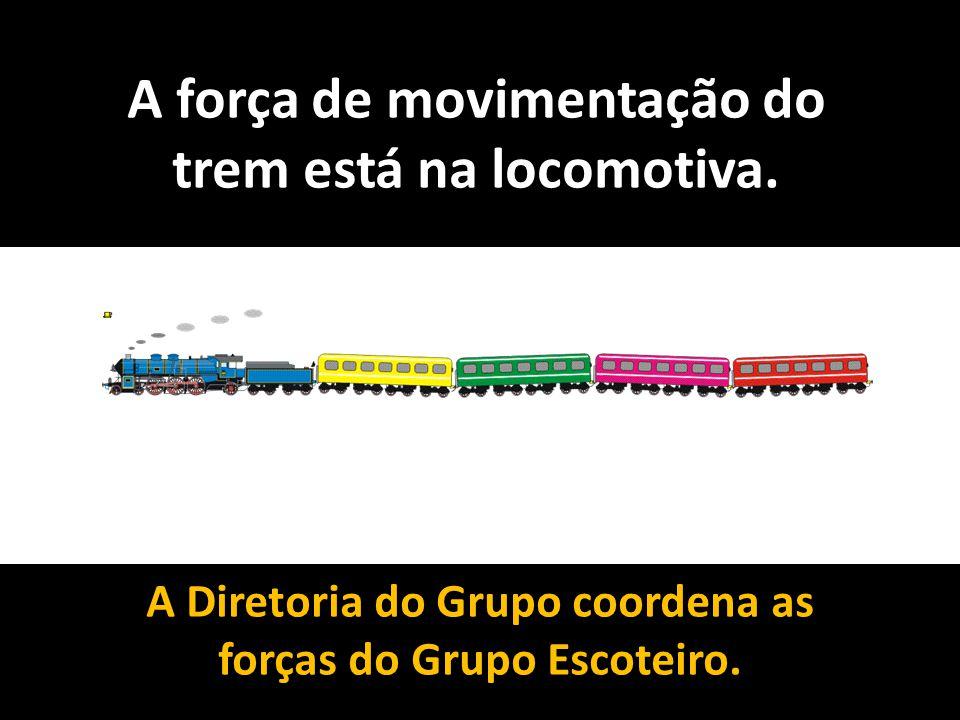 A força de movimentação do trem está na locomotiva. A Diretoria do Grupo coordena as forças do Grupo Escoteiro.