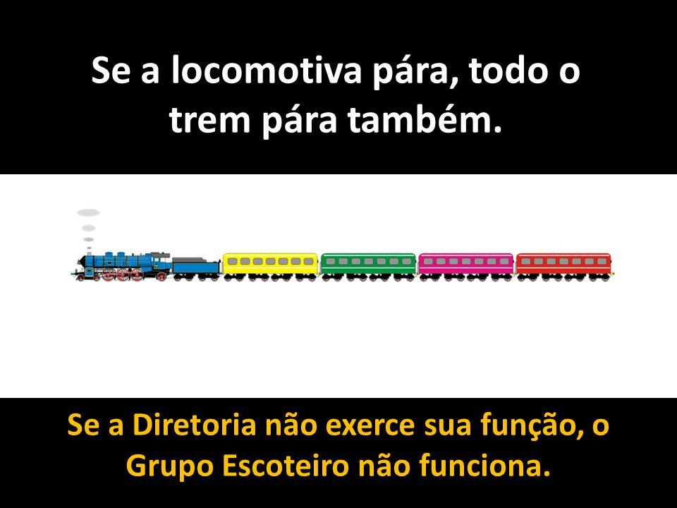 Se a locomotiva pára, todo o trem pára também. Se a Diretoria não exerce sua função, o Grupo Escoteiro não funciona.