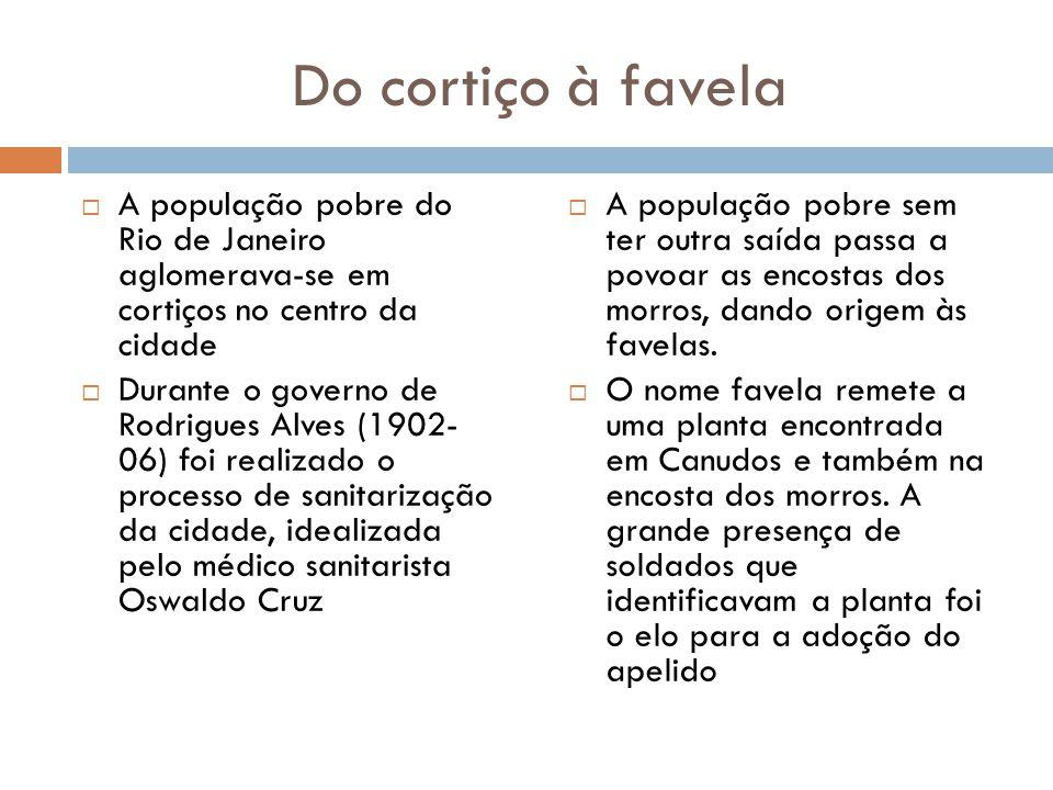 Do cortiço à favela  A população pobre do Rio de Janeiro aglomerava-se em cortiços no centro da cidade  Durante o governo de Rodrigues Alves (1902-