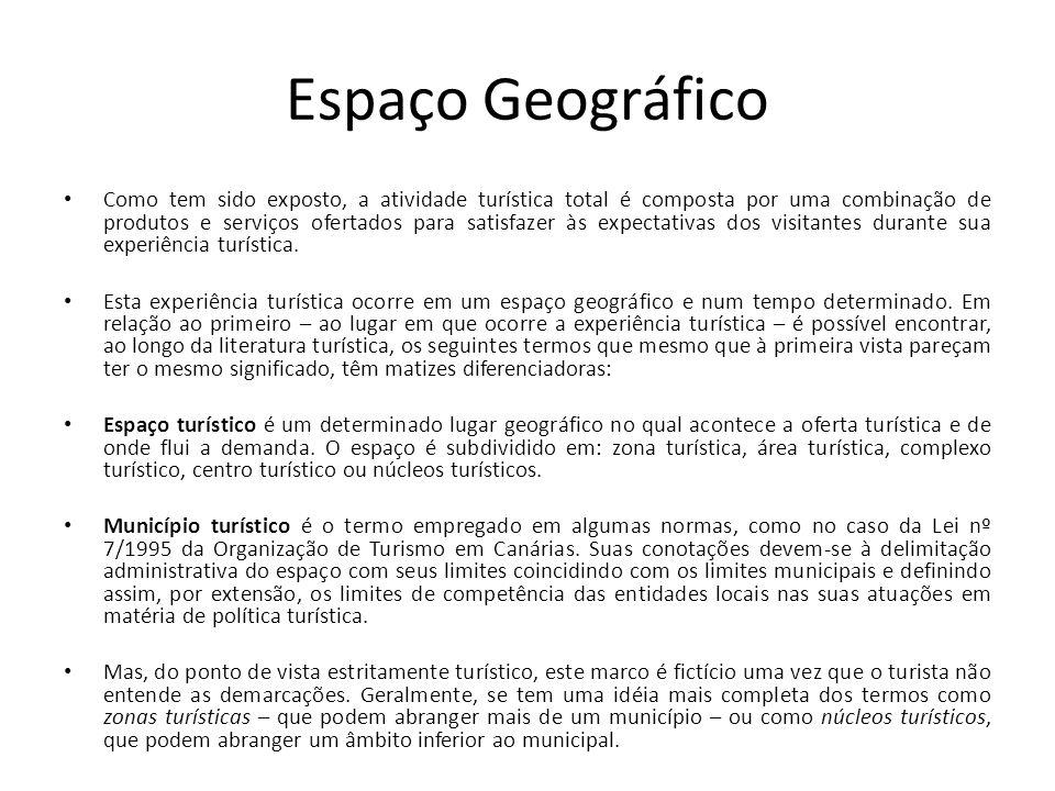 Espaço Geográfico Como tem sido exposto, a atividade turística total é composta por uma combinação de produtos e serviços ofertados para satisfazer às