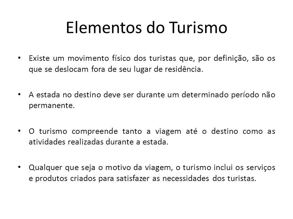 Elementos do Turismo Existe um movimento físico dos turistas que, por definição, são os que se deslocam fora de seu lugar de residência. A estada no d