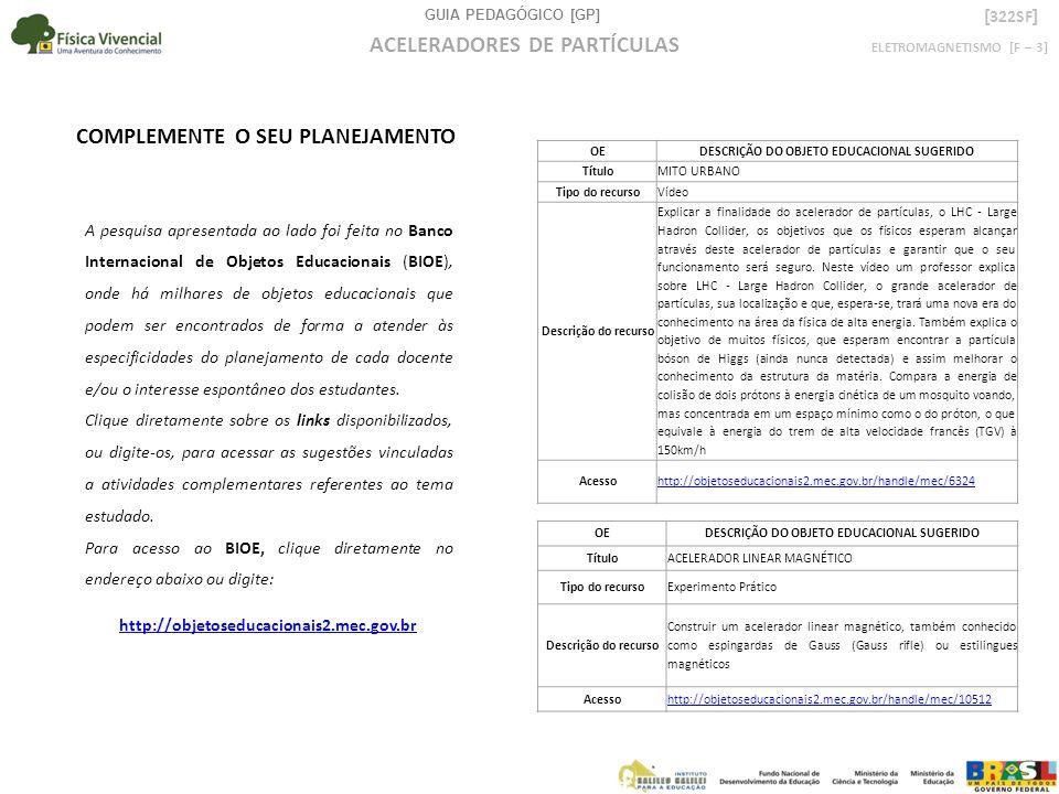 GUIA PEDAGÓGICO [GP] ELETROMAGNETISMO [F – 3] ACELERADORES DE PARTÍCULAS [ 322SF ] A pesquisa apresentada ao lado foi feita no Banco Internacional de