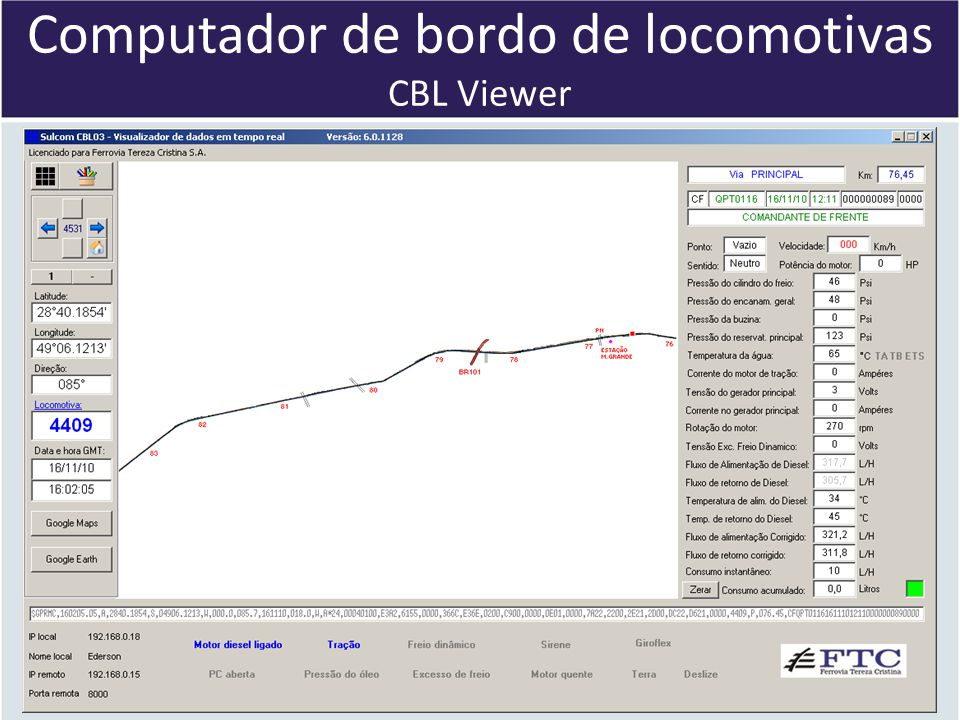 Computador de bordo de locomotivas CBL Viewer