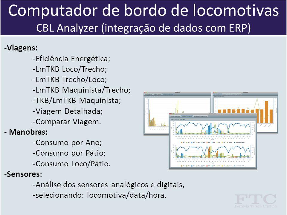 Computador de bordo de locomotivas CBL Analyzer (integração de dados com ERP) -Viagens: -Eficiência Energética; -LmTKB Loco/Trecho; -LmTKB Trecho/Loco