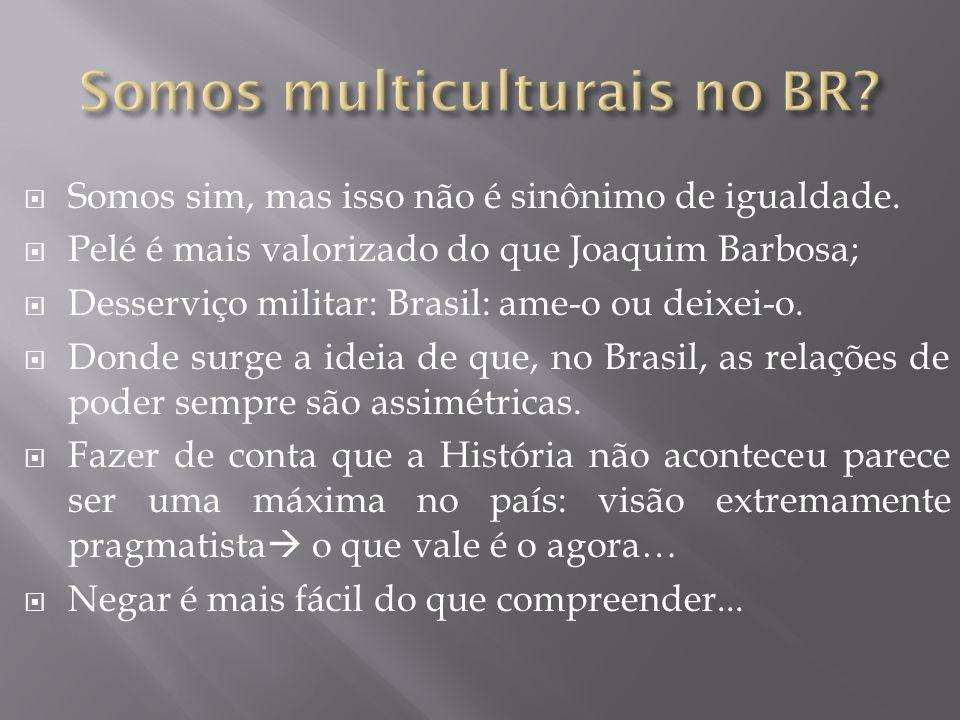  Somos sim, mas isso não é sinônimo de igualdade.  Pelé é mais valorizado do que Joaquim Barbosa;  Desserviço militar: Brasil: ame-o ou deixei-o. 