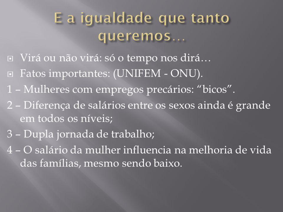 """ Virá ou não virá: só o tempo nos dirá…  Fatos importantes: (UNIFEM - ONU). 1 – Mulheres com empregos precários: """"bicos"""". 2 – Diferença de salários"""