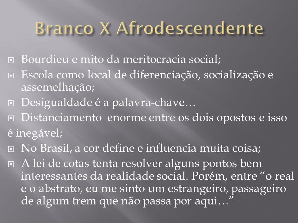  Bourdieu e mito da meritocracia social;  Escola como local de diferenciação, socialização e assemelhação;  Desigualdade é a palavra-chave…  Dista