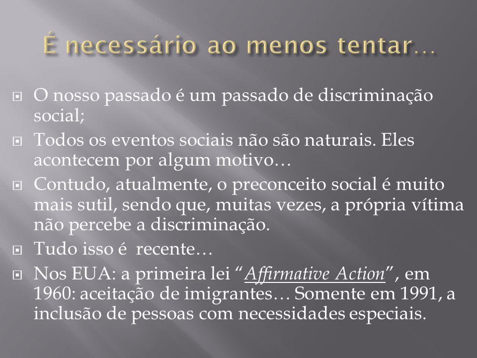  O nosso passado é um passado de discriminação social;  Todos os eventos sociais não são naturais. Eles acontecem por algum motivo…  Contudo, atual
