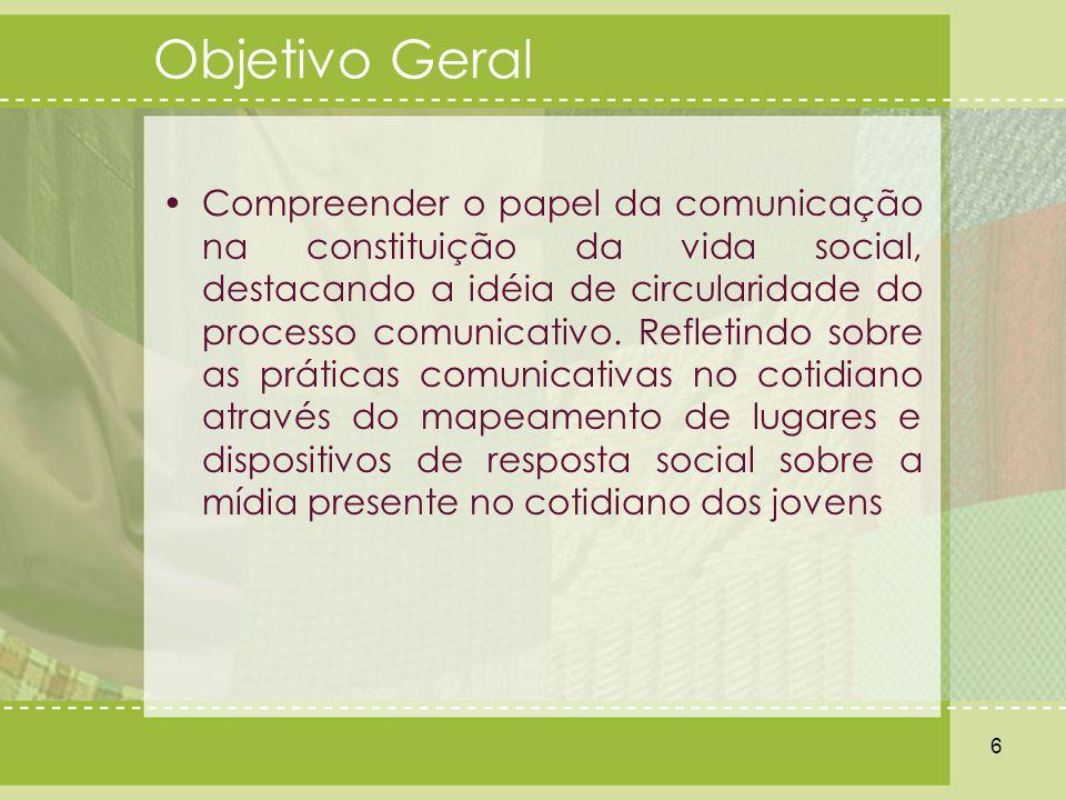 Objetivo Geral Compreender o papel da comunicação na constituição da vida social, destacando a idéia de circularidade do processo comunicativo. Reflet