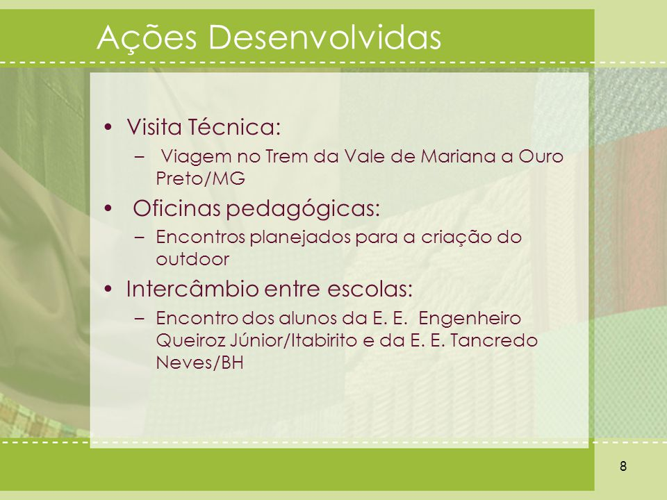 Ações Desenvolvidas Visita Técnica: – Viagem no Trem da Vale de Mariana a Ouro Preto/MG Oficinas pedagógicas: –Encontros planejados para a criação do