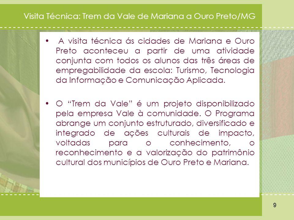 A visita técnica ás cidades de Mariana e Ouro Preto aconteceu a partir de uma atividade conjunta com todos os alunos das três áreas de empregabilidade