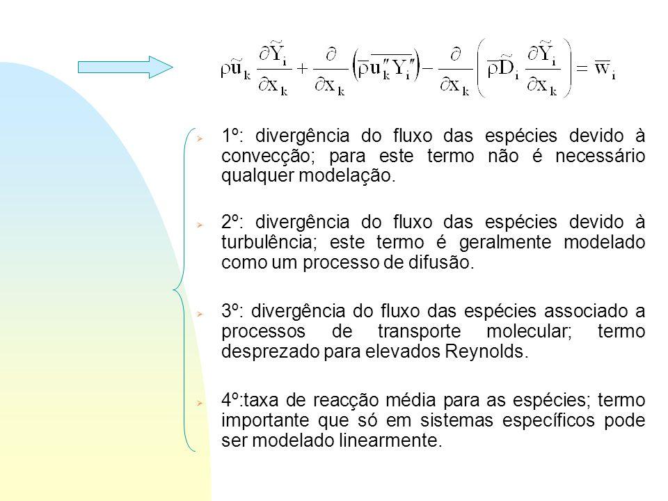 Combustão Turbulenta: n O problema da combustão turbulenta é melhor apreciado considerando a equação de balanço às espécies para valores médios: