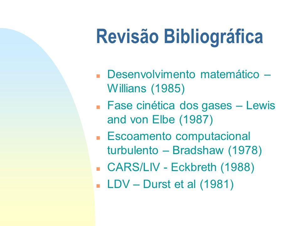 Revisão Bibliográfica n Desenvolvimento matemático – Willians (1985) n Fase cinética dos gases – Lewis and von Elbe (1987) n Escoamento computacional turbulento – Bradshaw (1978) n CARS/LIV - Eckbreth (1988) n LDV – Durst et al (1981)