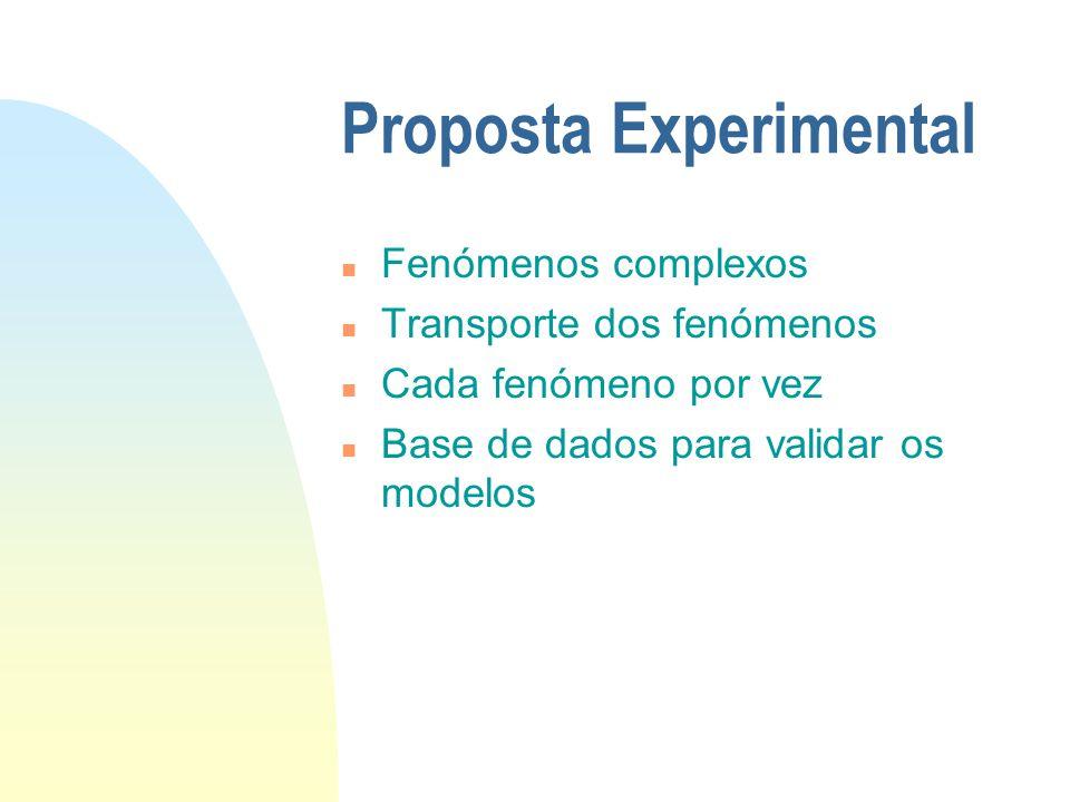 Proposta Experimental n Fenómenos complexos n Transporte dos fenómenos n Cada fenómeno por vez n Base de dados para validar os modelos