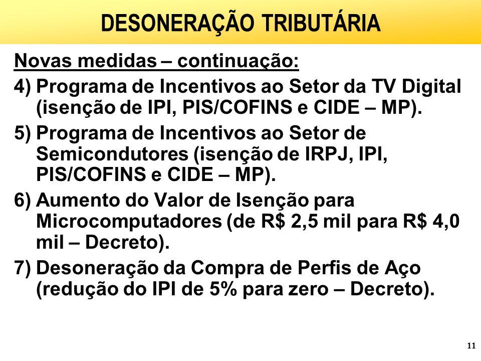 11 DESONERAÇÃO TRIBUTÁRIA Novas medidas – continuação: 4)Programa de Incentivos ao Setor da TV Digital (isenção de IPI, PIS/COFINS e CIDE – MP).