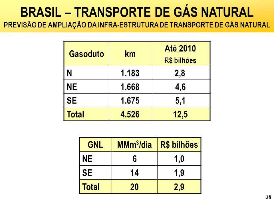 38 Gasodutokm Até 2010 R$ bilhões N1.183 2,8 NE1.6684,6 SE1.6755,1 Total4.52612,5 GNLMMm 3 /diaR$ bilhões NE61,0 SE141,9 Total202,9 BRASIL – TRANSPORTE DE GÁS NATURAL PREVISÃO DE AMPLIAÇÃO DA INFRA-ESTRUTURA DE TRANSPORTE DE GÁS NATURAL