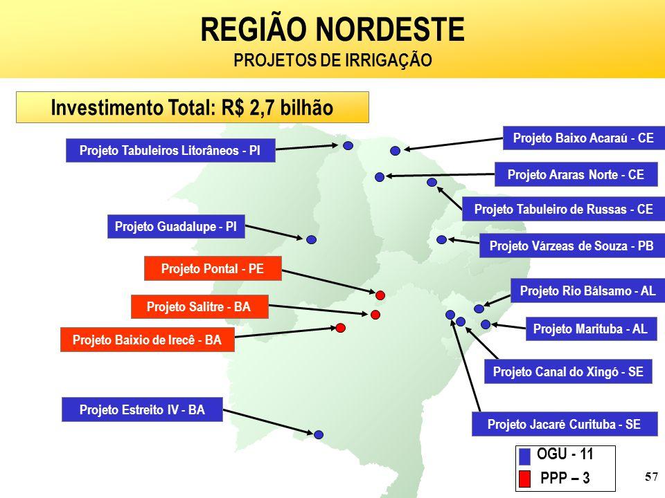 57 REGIÃO NORDESTE PROJETOS DE IRRIGAÇÃO Investimento Total: R$ 2,7 bilhão Projeto Guadalupe - PI Projeto Tabuleiros Litorâneos - PI Projeto Araras Norte - CE Projeto Baixo Acaraú - CE Projeto Tabuleiro de Russas - CE Projeto Várzeas de Souza - PB Projeto Rio Bálsamo - AL Projeto Jacaré Curituba - SE Projeto Marituba - AL Projeto Canal do Xingó - SE Projeto Pontal - PE Projeto Salitre - BA Projeto Baixio de Irecê - BA Projeto Estreito IV - BA OGU - 11 PPP – 3